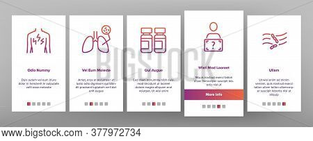 Tuberculosis Disease Onboarding Mobile App Page Screen Vector. Healthy Lungs And With Tuberculosis,