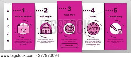 Political Election Onboarding Mobile App Page Screen Vector. Political Candidate Speaking On Tribune