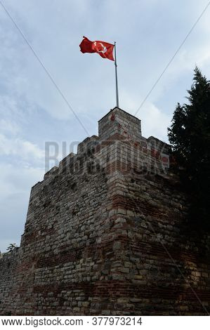 Istanbul,turkey - November 4, 2019:blachernae Section Of The Old Fortress Walls In Istanbul. Turkey