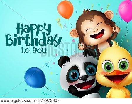 Birthday Party Animals Character Vector Design. Happy Birthday Text With Friends Surprise Animal Cha