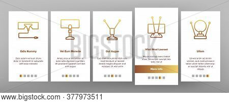 Hdtv Antenna Device Onboarding Mobile App Page Screen Vector. Hdtv Antenna Gadget For Tv Broadcastin