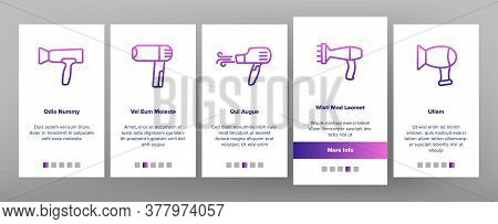 Blow Dryer Device Onboarding Mobile App Page Screen Vector. Hair Dryer With Different Nozzles Electr