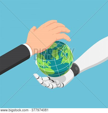Flat 3d Isometric Businessman And Ai Robot Hand Protecting The World Together. Ai Artificial Intelli