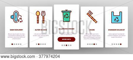 Zero Waste Reusable Onboarding Mobile App Page Screen Vector. Zero Waste Package And Container, Kitc