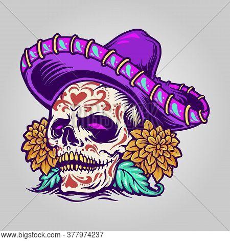 Dia De Muertos Mexican Sugar Skull For Your Party
