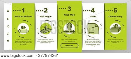 Wet Wipes Disinfectant Onboarding Mobile App Page Screen Vector. Antibacterial Disinfect Packaging W