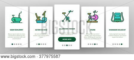 Exercise Bike Sport Onboarding Mobile App Page Screen Vector. Bike Sportive Equipment, Gym And Fitne