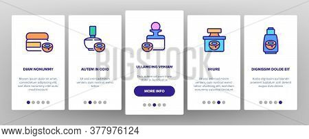 Coconut Cosmetic Pack Onboarding Mobile App Page Screen Vector. Coconut Cream Packaging Bottles And