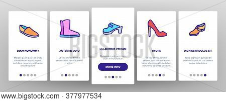 Shoes Footwear Shop Onboarding Mobile App Page Screen Vector. Different Shoes Sneaker And Moccasin,