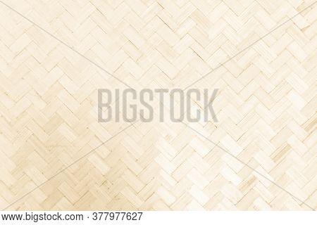 Brown Mat Traditional Handicraft Bamboo Wood Weave Texture Background. Retro Woven Surface Pattern M