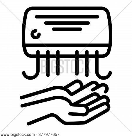 Warm Hand Dryer Icon. Outline Warm Hand Dryer Vector Icon For Web Design Isolated On White Backgroun