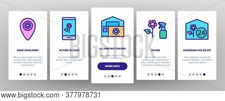 Flower Shop Boutique Onboarding Mobile App Page Screen Vector. Flower Shop Delivery And Map Location
