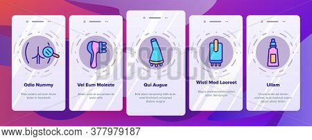 Cellulite Combat Tool Onboarding Mobile App Page Screen Vector. Anti-cellulite Cream Cosmetic And Ma