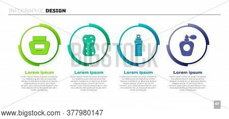 Set Cream Or Lotion Cosmetic Tube, Sponge With Bubbles, Perfume And Perfume. Business Infographic Te