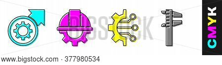 Set Gear And Arrows As Workflow Process, Worker Safety Helmet And Gear, Algorithm And Calliper Or Ca