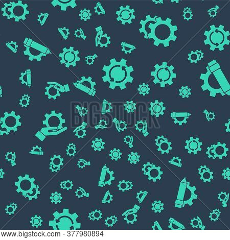 Set Gear And Arrows As Workflow, Gear, Settings In The Hand And Pencil And Gear On Seamless Pattern.
