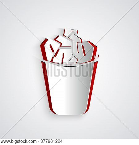 Paper Cut Full Trash Can Icon Isolated On Grey Background. Garbage Bin Sign. Recycle Basket Icon. Of
