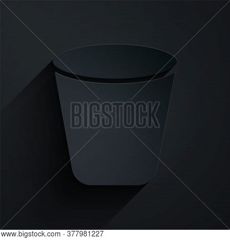 Paper Cut Trash Can Icon Isolated On Black Background. Garbage Bin Sign. Recycle Basket Icon. Office
