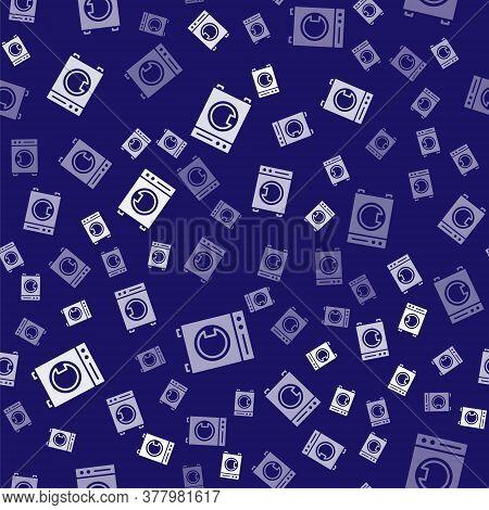 White Washer Icon Isolated Seamless Pattern On Blue Background. Washing Machine Icon. Clothes Washer