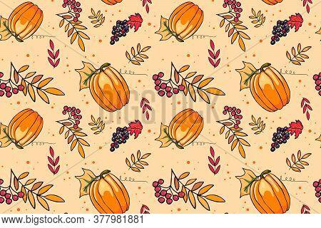 Autumn Season Vector Seamless Pattern With Hand Drawn Pumpkin, Grapes, Rowan, Leaves. Hand Drawn Rep