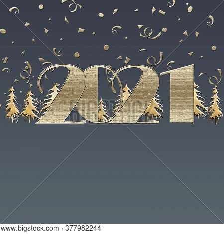Happy New 2021 Year Elegant Luxury Gold Greeting Card With Gold Christmas Trees And Text 2021 On Blu