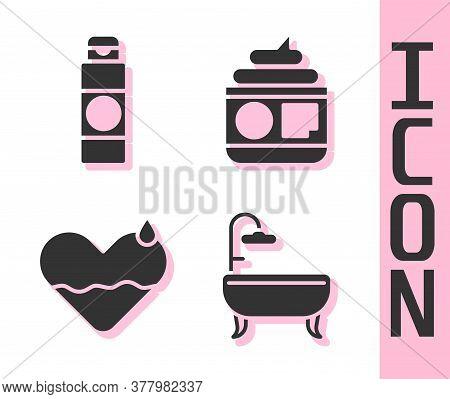 Set Bathtub, Cream Or Lotion Cosmetic Tube, Heart Heal And Cream Or Lotion Cosmetic Tube Icon. Vecto