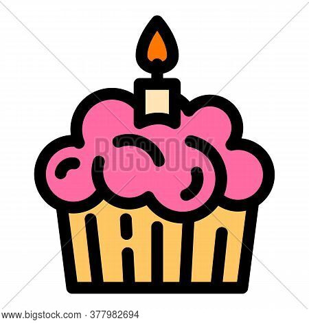 Birthday Cupcake Icon. Outline Birthday Cupcake Vector Icon For Web Design Isolated On White Backgro