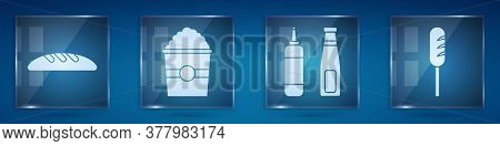 Set Bread Loaf, Popcorn In Box, Sauce Bottle And Fried Sausage. Square Glass Panels. Vector
