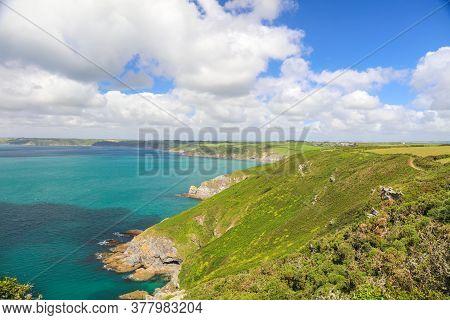 Panoramic view of Vault Beach On The Roseland Peninsula In Cornwall, England, Britain, Uk