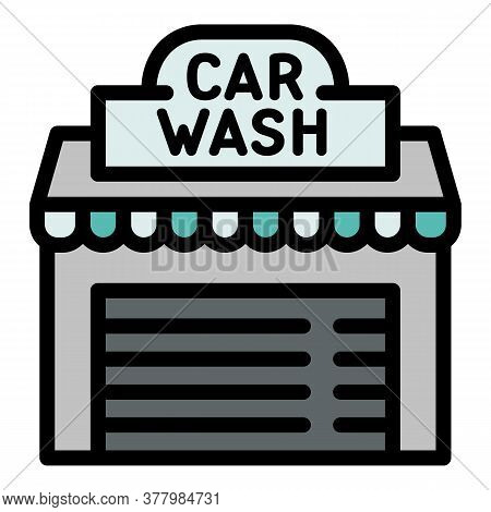 Street Car Wash Icon. Outline Street Car Wash Vector Icon For Web Design Isolated On White Backgroun