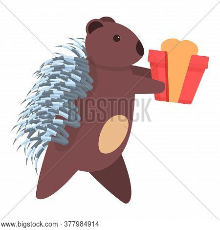 Porcupine With Gift Box Icon. Cartoon Of Porcupine With Gift Box Vector Icon For Web Design Isolated
