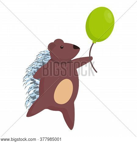 Porcupine With Balloon Icon. Cartoon Of Porcupine With Balloon Vector Icon For Web Design Isolated O