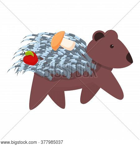 Porcupine With Apple And Mushroom Icon. Cartoon Of Porcupine With Apple And Mushroom Vector Icon For