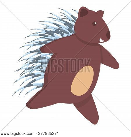Running Porcupine Icon. Cartoon Of Running Porcupine Vector Icon For Web Design Isolated On White Ba