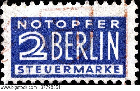 02 09 2020 Divnoe Stavropol Territory Russia The Postage Stamp Germany 1948 Postage And Tax Stamp In