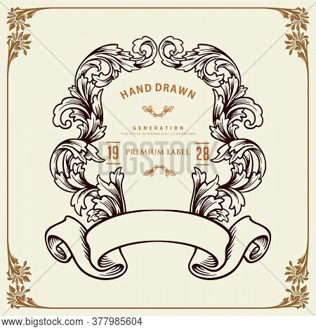 Frame Floral Retro Design Victorian Style For Your Company