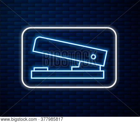 Glowing Neon Line Office Stapler Icon Isolated On Brick Wall Background. Stapler, Staple, Paper, Car