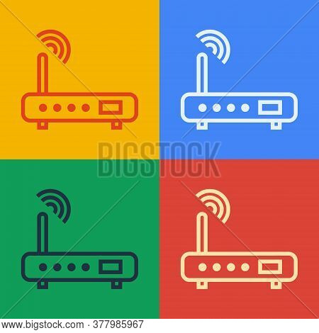 Pop Art Line Router And Wi-fi Signal Icon Isolated On Color Background. Wireless Ethernet Modem Rout