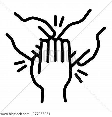 Cohesion Teamwork Hands Icon. Outline Cohesion Teamwork Hands Vector Icon For Web Design Isolated On