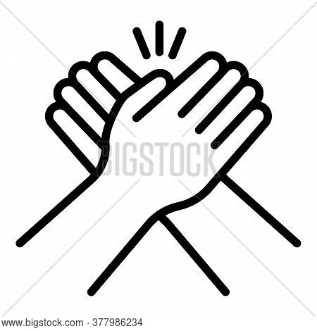 Friendship Cohesion Hands Icon. Outline Friendship Cohesion Hands Vector Icon For Web Design Isolate