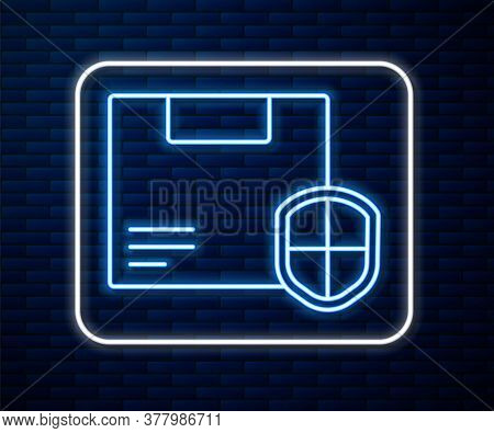 Glowing Neon Line Delivery Security With Shield Icon Isolated On Brick Wall Background. Delivery Ins