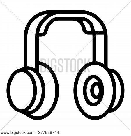 Rapper Headphones Icon. Outline Rapper Headphones Vector Icon For Web Design Isolated On White Backg