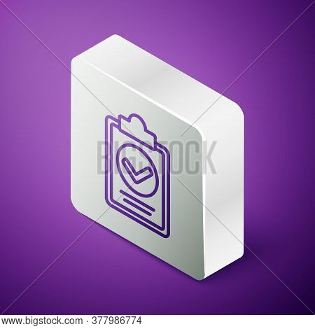 Isometric Line Verification Of Delivery List Clipboard Icon Isolated On Purple Background. Silver Sq