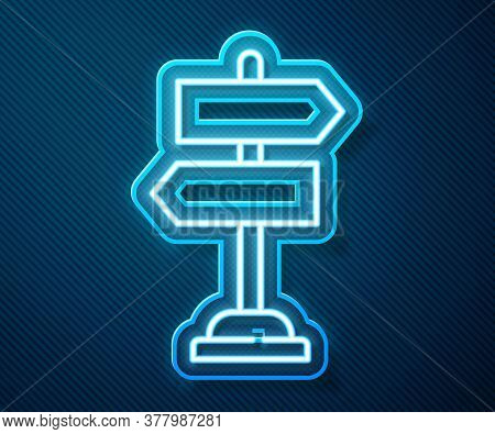 Glowing Neon Line Road Traffic Sign. Signpost Icon Isolated On Blue Background. Pointer Symbol. Isol