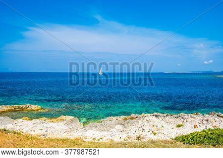 Beautiful Seascape On Adriatic Sea In Croatia, Dugi Otok Island, Sailing Boat On Sea In Bay On Veli