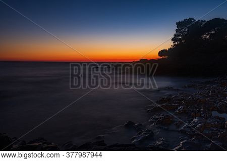 Beautiful Evening On Adriatic Sea In Croatia, Waves On Rocks On Shore Of Dugi Otok Island. Amazing S