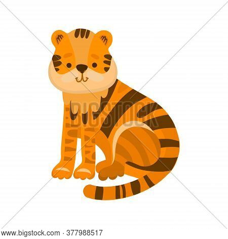 Vector Illustration Of A Cute Tiger In Flat Style. Cartoon Illustration Drawn For Children. Illustra