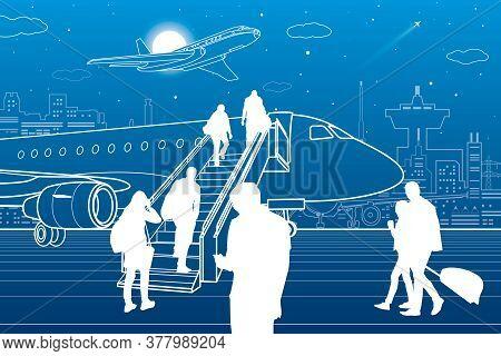 Passengers Board The Plane. Contour Transport Illustration. City Airport Infrastructure. Vector Desi