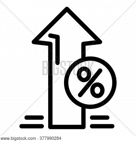 Deposit Up Percent Icon. Outline Deposit Up Percent Vector Icon For Web Design Isolated On White Bac