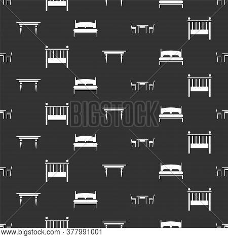 Set Wooden Table With Chair, Baby Crib Cradle Bed, Wooden Table And Big Bed On Seamless Pattern. Vec